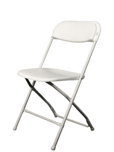 white folding chair with metal frame